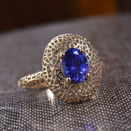 9K Yellow Gold Tanzanite (Ovl 7.5x5.5mm) Solitaire Ring 1.00 Ct.