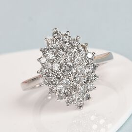 1 Carat Diamond Cluster Ring in 9K White Gold SGL Certified I3 GH