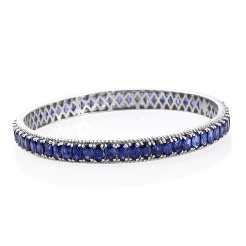 Masoala Sapphire (Ovl) Bangle (Size 7) in Platinum Overlay Sterling Silver 22.500 Ct. Silver wt 13.67 Gms.