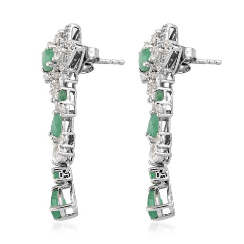 Kagem Zambian Emerald (Rnd and Pear), White Topaz Earrings (with Push Back) in Platinum Overlay Sterling Silver 4.500 Ct, Silver wt 5.46 Gms.