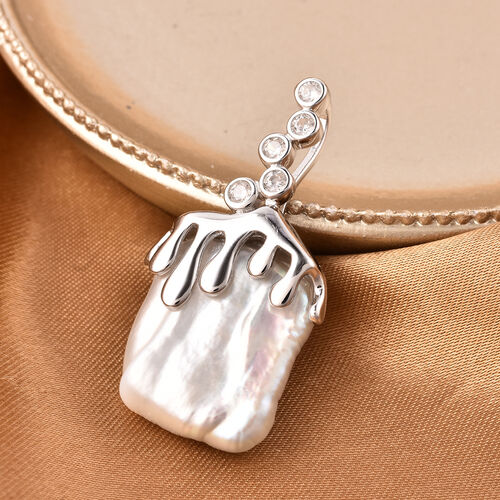 Baroque White Pearl and Natural Cambodian Zircon Dripping Water Pendant in Rhodium Overlay Sterling Silver