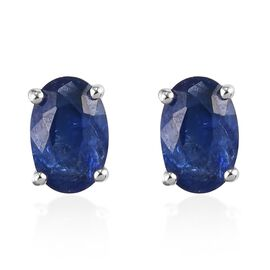 9K White Gold  Burmese Blue Sapphire Earring in Rhodium Overlay 0.24 ct,  Gold Wt. 0.7 Gms  1.050  C