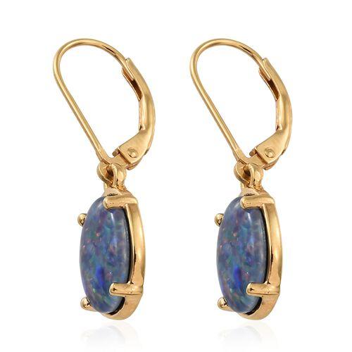Australian Boulder Opal (Ovl) Lever Back Earrings in 14K Gold Overlay Sterling Silver