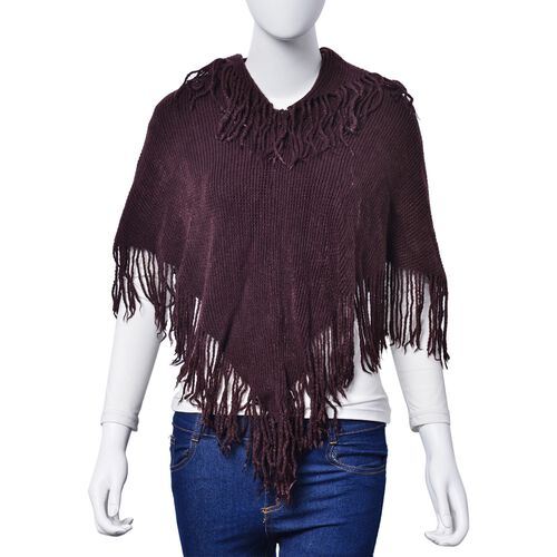 Beige Colour Floral Pattern Scarf with Tassels and Chocolate Colour Poncho with Tassels (Free Size)