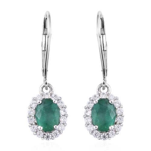 2 Carat Zambian Emerald and Cambodian Zircon Halo Earrings in 9K White Gold 1.53 Gms With Lever Back