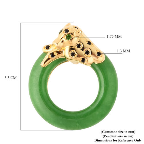 Green Jade, Russian Diopside and Boi Ploi Black Spinel Pendant in Yellow Gold Overlay Sterling Silver 22.25 Ct.