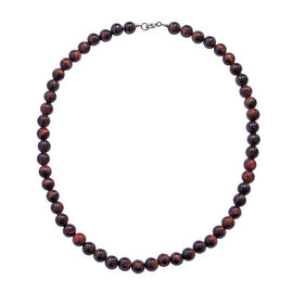 Mega Day Deal-Red Tiger Eye Necklace (Size 18) in Rhodium Overlay Sterling Silver   220.000 Ct.