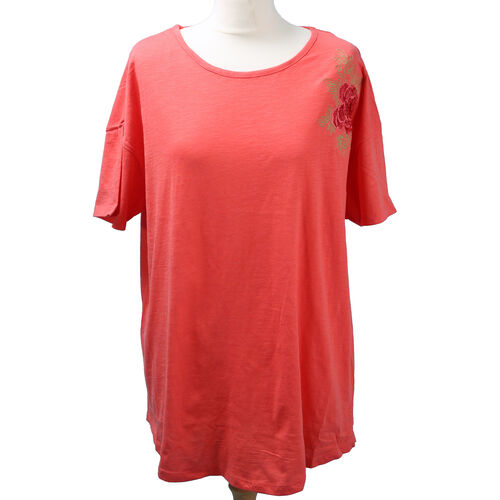 SUGARCRISP 100% Cotton Short Sleeved TShirt with Flower Detail (Size XL) - Hot Coral