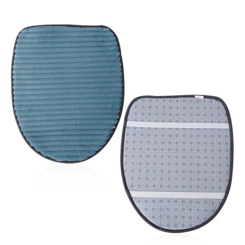 3 Pcs Bath Set - Sea Blue Colour Bath Mat (Size 80x50 cm), Toilet Cover (Size 50x40 cm) and Mat (Size 80x50 cm)