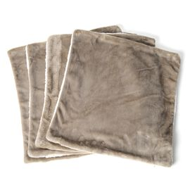 Autumn/Winter Collection - Set of 4 -  Taupe Colour Supersoft Reversible Flannel Sherpa Cushion Covers (45x45 cm)