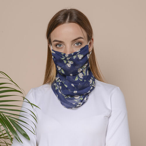 2 in 1 Flower Pattern Chiffon Soft Feel Scarf and Protective Face Covering (Size 45x45 Cm) - Navy &