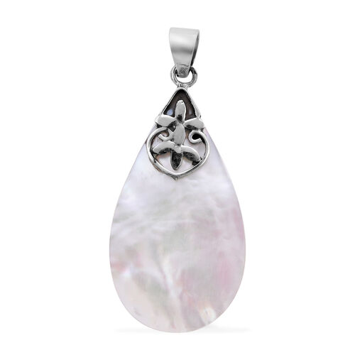 Royal Bali Collection - Mother of Pearl Drop Pendant in Sterling Silver