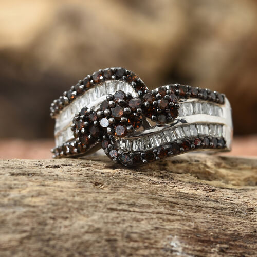 Red Diamond (Rnd), White Diamond Ring in Platinum Overlay Sterling Silver 1.000 Ct, Silver wt 5.04 Gms, Number of Diamonds 101.