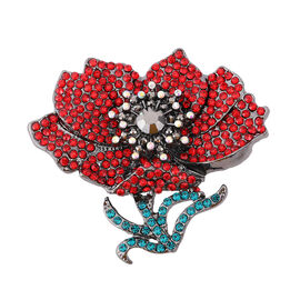 TJC Poppy Design - Multi Colour Crystal Poopy Magnet Brooch in Black Tone