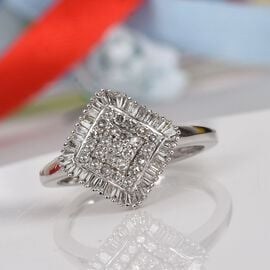 9K White Gold SGL Certified Diamond (I3/G-H) Cluster Ring 0.50 Ct.