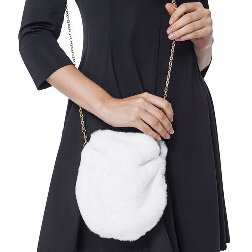 Ultra Soft Faux Fur Handbag and Scarf Set - (Bag size: 20x22cm) - White