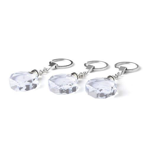 Set of 3 Elephant, Eagle and Dog Pattern Crystal LED Keychains (Size 3x3x1 Cm) - Octagon Shape