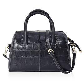 100% Genuine Leather Croc Pattern Bag with Detachable Shoulder Strap and Zipper Closure (Size 28x13x