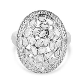 Artisan Crafted Polki Diamond Ring in Platinum Overlay Sterling Silver 1.05 Ct, Silver wt 5.98 Gms