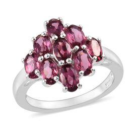 Lotus Garnet (Ovl) Cluster Ring in Sterling Silver 2.50 Ct.