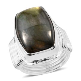 Hand Crafted Fire Labradorite (Cush 16x12mm) Ring in Sterling Silver 16.24 Ct, Silver wt 7.64 Gms