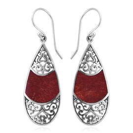 Royal Bali Collection Sponge Coral Drop Hook Earrings in Sterling Silver, Silver wt 3.10 Gms.