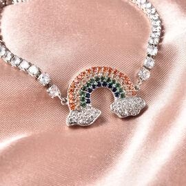 Simulated Multi Gemstone Adjustable Rainbow Bracelet (Size 6-9) in Silver Tone