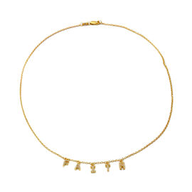 ELANZA Simulated Diamond Faith Necklace (Size 18) in Yellow Gold Overlay Sterling Silver