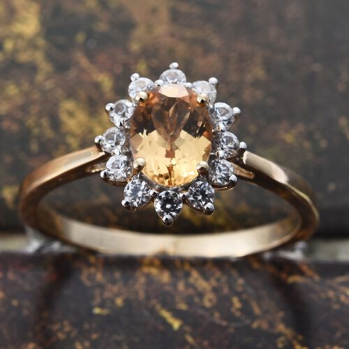 9K Yellow Gold AAA Imperial Topaz (Ovl 1.40 Ct), Natural Cambodian Zircon Ring 2.000 Ct.