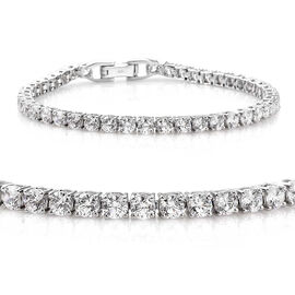J Francis - Platinum Overlay Sterling Silver (Rnd) Tennis Bracelet (Size 8) Made with SWAROVSKI ZIRCONIA, Silver wt 10.95 Gms.