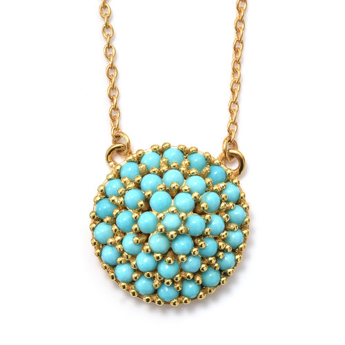 SLEEPING BEAUTY TURQUOISE (1.50 Ct) 14K Gold Overlay 14K Gold Overlay Sterling Silver Necklace (Size 18)  1.500  Ct.