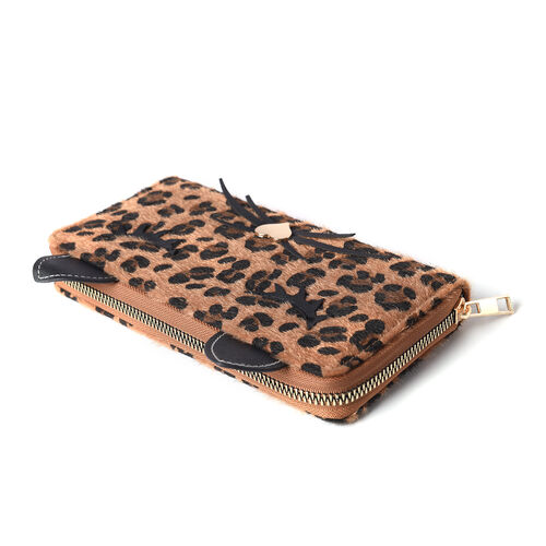 Leopard Print RFID Wallet with Decorative Cat Ears and Heart Nose - Brown