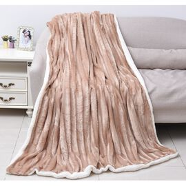 Supersoft Faux Fur Sherpa Blanket with Brushed Stripe Pattern (Size 150x200 cm)- Beige
