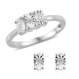 Designer Inspired- 2 Piece Set Diamond (Rnd) Ring and Earrings (with Push Back) in Sterling Silver