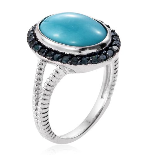 Arizona Sleeping Beauty Turquoise (Ovl 4.75 Ct), Blue Diamond Ring in Platinum Overlay Sterling Silver 5.250 Ct.