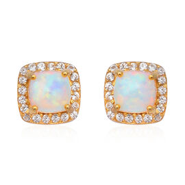 1.96 Ct Ethiopian Welo Opal and Cambodian Zircon Halo Stud Earrings in Gold Plated Sterling Silver