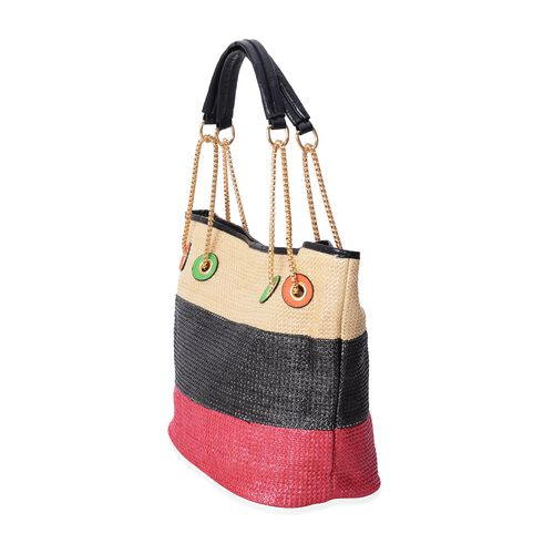 Summer Special Beige, Black and Red Colour Tote Bag (Size 31x30x16 Cm)