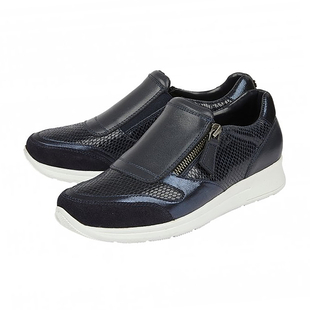 DOD - Lotus Navy Leather & Snake Sian Casual Trainers (Size 7)