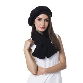 Super Soft Sherpa Style Beret Hat and Scarf Set - (Scarf:13x92cm) (Hat:One Size) - Black