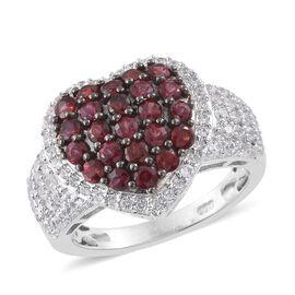 Arizona Anthill Garnet (Rnd), Natural Cambodian Zircon Heart Ring in Platinum Overlay Sterling Silve
