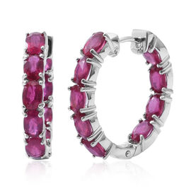 African Ruby (Ovl) Hoop Earrings (with Clasp Lock) in Rhodium Plated Sterling Silver 11.000 Ct. Silver wt 9.50 Gms.