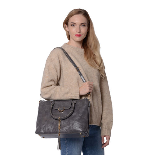 Solid Grey Tote Bag (35x12x26cm) with Adjustable Shoulder Strap and Tassel
