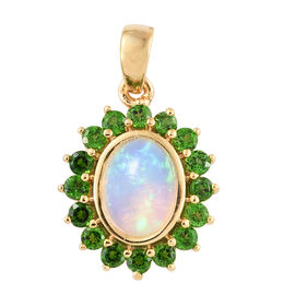 Ethiopian Welo Opal (Ovl), Russian Diopside Pendant in 14K Gold Overlay Sterling Silver 1.500 Ct.