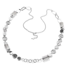 White Austrian Crystal Necklace (Size 42 with 2 inch Extender) in Silver Tone