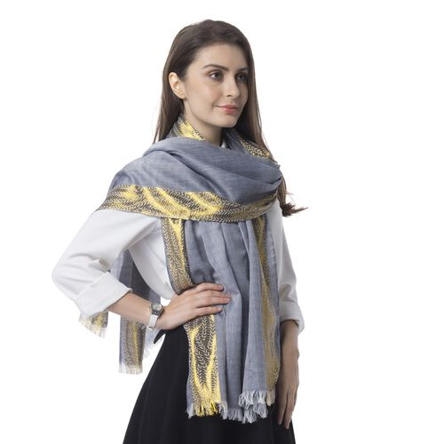 Black Colour Golden Trim Pattern in 2 Side Scarf (Size 180x68 Cm)