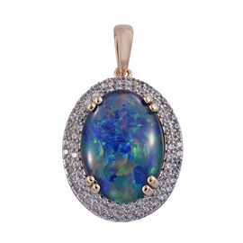 Boulder Opal and Cambodian Zircon Pendant in Rhodium Plated 9K Gold 3.39 Grams