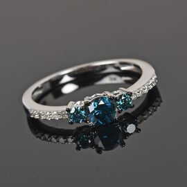 9K White Gold Blue Diamond and White Diamond (I3/G-H) Ring 0.50 Ct.