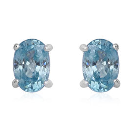 Ratnakiri Blue Zircon (Ovl) Stud Earrings (with Push Back) in Sterling Silver 1.55 Ct.
