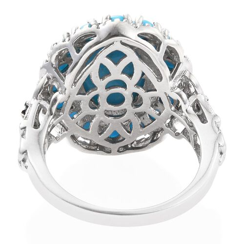 Arizona Sleeping Beauty Turquoise (Ovl 4.30 Ct), Blue Diamond Ring in Platinum Overlay Sterling Silver 6.000 Ct.
