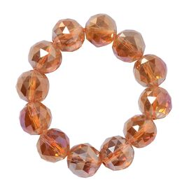 Fire Opal Colour Crystal (Rnd 17-19mm) Faceted Beads Stretchable Bracelet (Size 6.0)